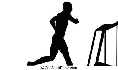 Alpha Channel Running on a treadmill Side