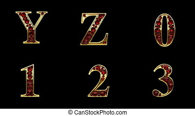 alpha, emmêlé, doré, boucle, alphabet