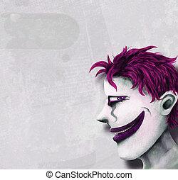androgynous weirdo clown head painting