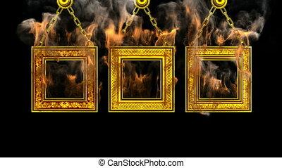 alpha, frames., brûlé, emmêlé