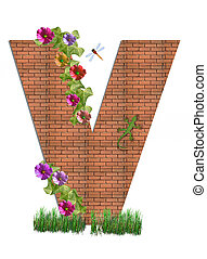 "Alpha Garden Brick Wall V - V in the alphabet set ""Garden..."