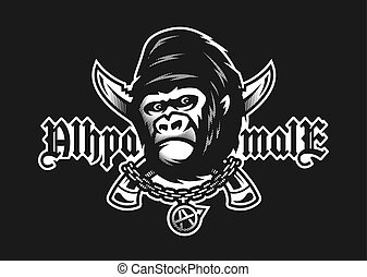 Alpha male. Angry gorilla and crossed knives on a dark background. Vector illustration.