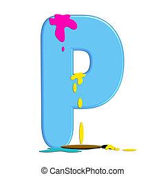 "Alpha Paint Blob P - P in alphabet set ""Alpha Paint Blobs""..."
