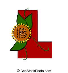 "Alpha Sunflower L - L, in the alphabet set ""sunflower"", is..."