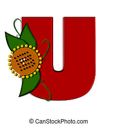 """U, in the alphabet set """"sunflower"""", is decorated with sunflower, leaves and twining vines. Letter is red."""