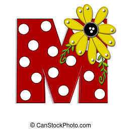 """Alpha Sunflower Vine M - M, in the alphabet set """"Sunflower..."""