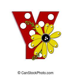 """Alpha Sunflower Vine Y - Y, in the alphabet set """"Sunflower..."""