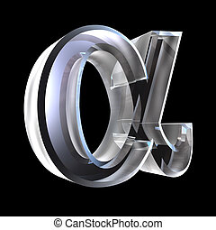 Alpha symbol in glass (3d) - Alpha symbol in glass (3d made)...