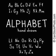 alphabe, fonts., moderno, estilo, mano, dibujado, caligrafía, manuscrito