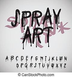 alphabet, éclaboussure, graffiti