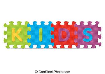 alphabet, écrit, gosses, puzzle