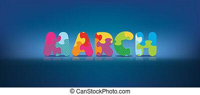 alphabet, écrit, mars, puzzle