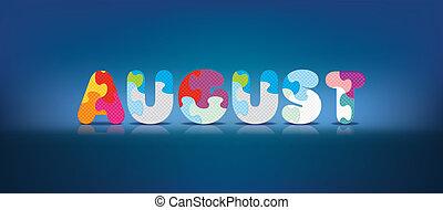 alphabet, écrit, puzzle, août