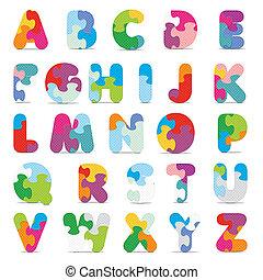alphabet, écrit, vecteur, puzzle