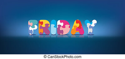 alphabet, écrit, vendredi, puzzle
