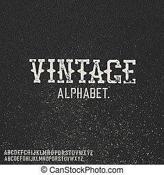 alphabet., 切手, 型, バックグラウンド。, 黒, グランジ