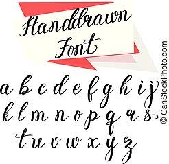 alphabet., 手, ベクトル, デザイン, 手紙, 引かれる, カリグラフィー, あなたの