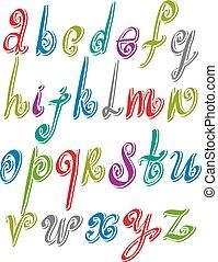 alphabet., 雜文, 矢量, 洗禮盆, 新鮮, 拉過絨, 手寫