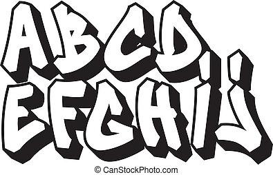 alphabet, 1, partie, graffiti, police, type