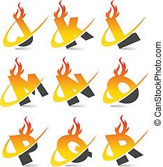 alphabet, 2, ensemble, flamme, swoosh