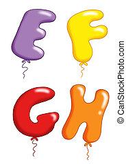 alphabet, 2, -, jouet, ballons