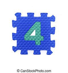 Alphabet 4 puzzle pieces on white background