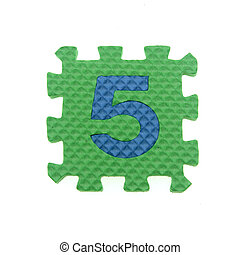 Alphabet 5 puzzle pieces on white background