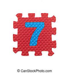 Alphabet 7 puzzle pieces on white background