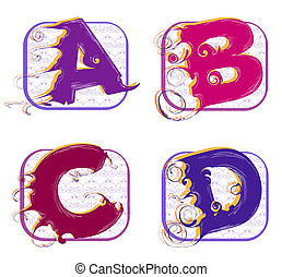 alphabet a, b, c, d