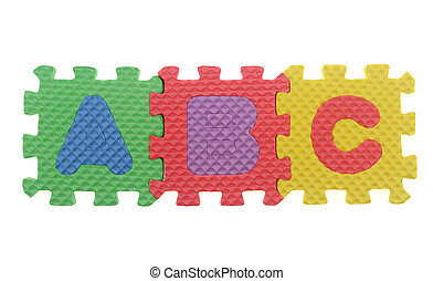 Alphabet A B C puzzle pieces on white background