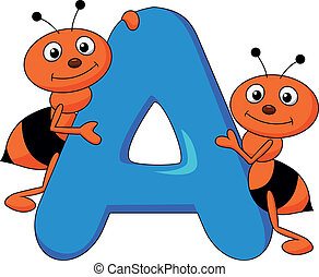 Vector illustration of alphabet A with ant cartoon