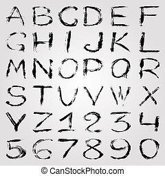 alphabet, abbildung, graffiti, zahlen, hintergrund, licht, monochrom