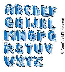alphabet, -, abbildung, hand, lettered, karikatur