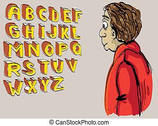 alphabet, -, abbildung, hand, schauen, lettered, kerl