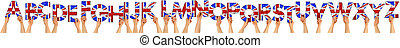 alphabet abc set collection of people holding up wooden letters with great britain united kingdom union jack uk flag colors isolated white background design pattern self building kit