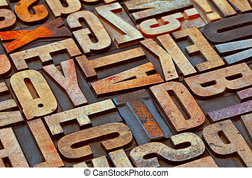 alphabet abstract in grunge wood tyoe