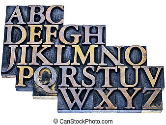 alphabet abstract in letterpress wood type