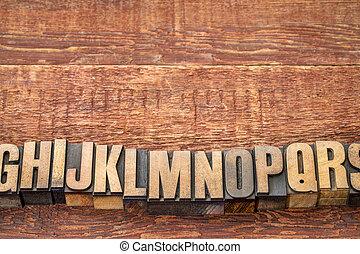 alphabet abstract in letterpress wood type blocks