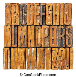 alphabet abstract in printing blocks