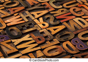 alphabet abstract in vintage printing blocks