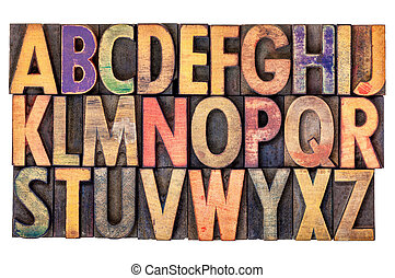 alphabet abstract in vintage wood type