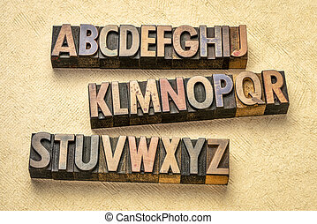 alphabet abstract in wood type
