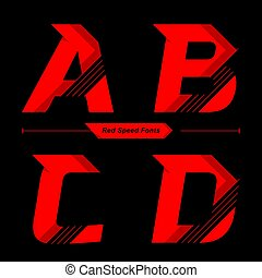 Alphabet Abstract Red Speed style in a set ABCD