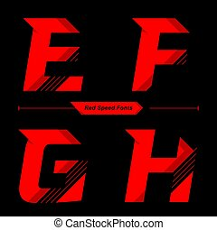 Alphabet Abstract Red Speed style in a set EFGH