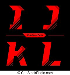 Alphabet Abstract Red Speed style in a set IJKL