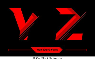 Alphabet Abstract Red Speed style in a set YZ