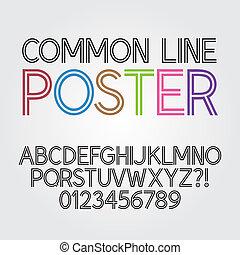 alphabet, abstrakt, linie, parallel