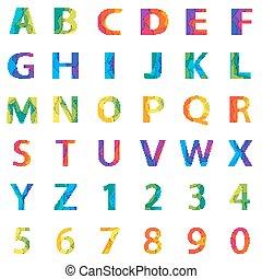 alphabet, abstrakt, vektor