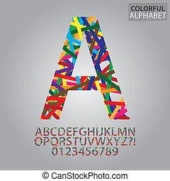alphabet, abstrakt, vektor, zahlen, bunte