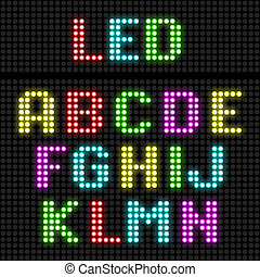 alphabet, affichage diodes électroluminescentes